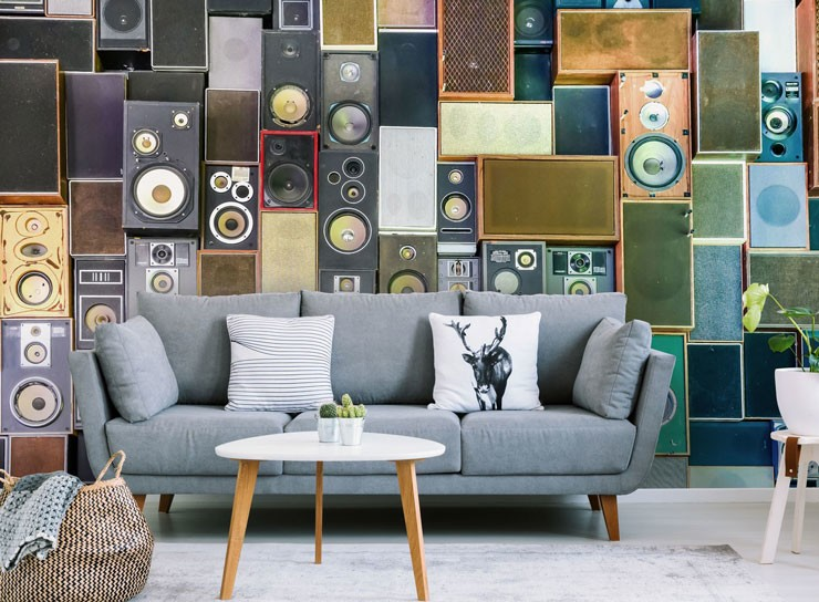 retro speakers wallpaper in on trend living room