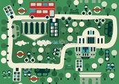 London Cartoon Map wallpaper mural thumbnail