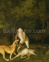 Freeman, the Earl of Clarendons Gamekeeper, With a Dying Doe and Hound, 1800 (oil on canvas) wallpaper mural thumbnail