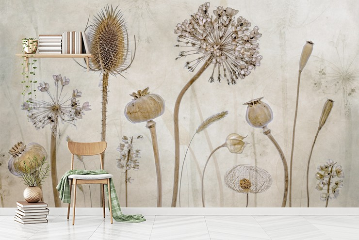 dried meadow flowers wall mural in simple room with wooden shelves and chair
