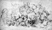 The Battle between the Greeks and the Amazons, c.1602-04 (pen & ink on paper) wall mural thumbnail