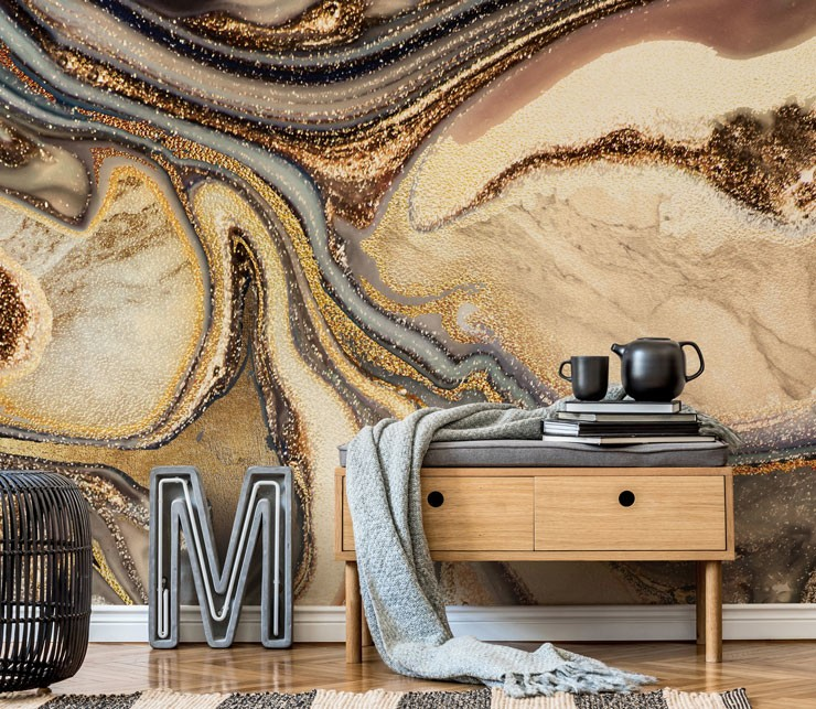 cream, gold, brown and bronze marble wallpaper in trendy lounge
