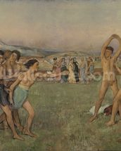 Young Spartans Exercising, c.1860 (oil on canvas) wallpaper mural thumbnail