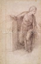The Virgin Annunciate, c.1546 (black chalk on paper) wallpaper mural thumbnail