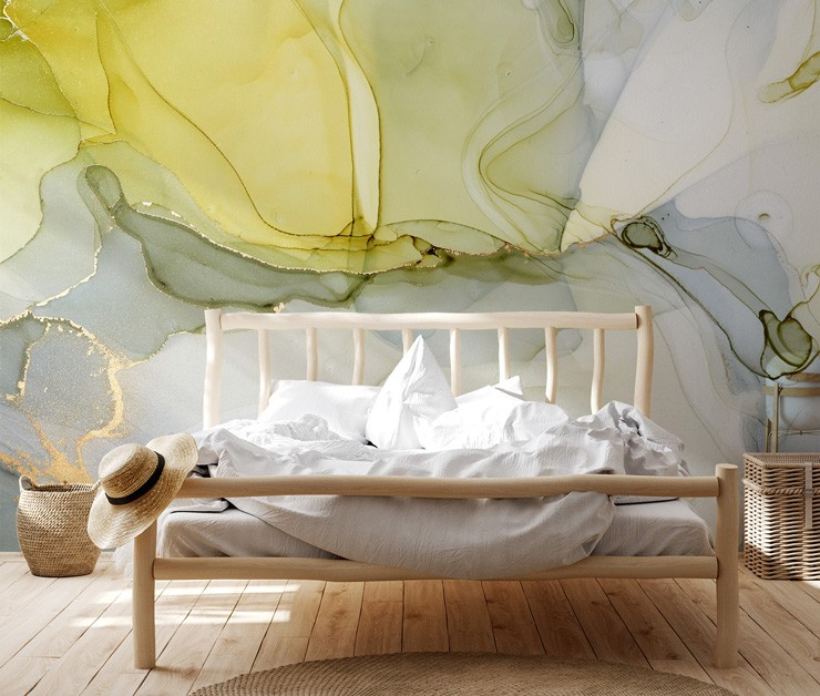 yellow and grey marble wallpaper in boho wooden bedroom