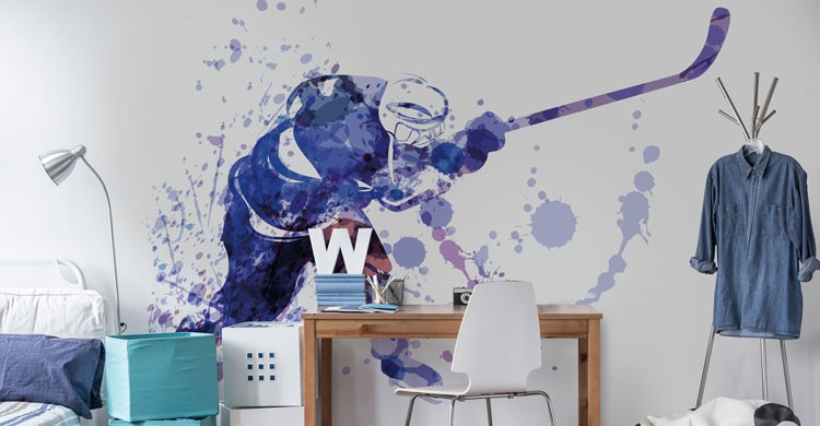 blue and white watercolour painting of ice hockey player in teenage boys bedroom