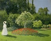 Jeanne Marie Lecadre in the Garden, 1866 (oil on canvas) mural wallpaper thumbnail