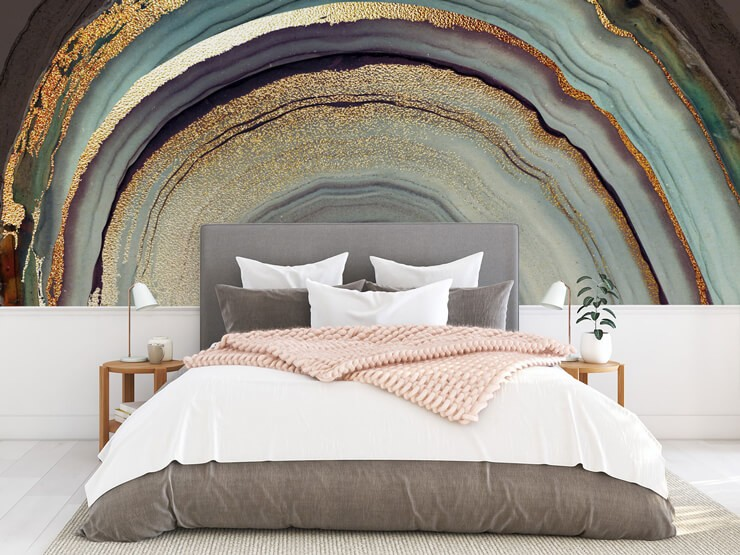 grey, gold colour, purple semi circle geode wallpaper in bedroom with pink, white and grey bed
