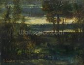 Evening Landscape (oil on canvas) wallpaper mural thumbnail