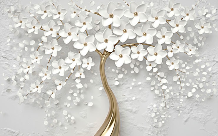 white and gold tree wallpper