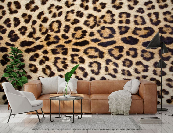 jaguar wallpaper in a trendy living room