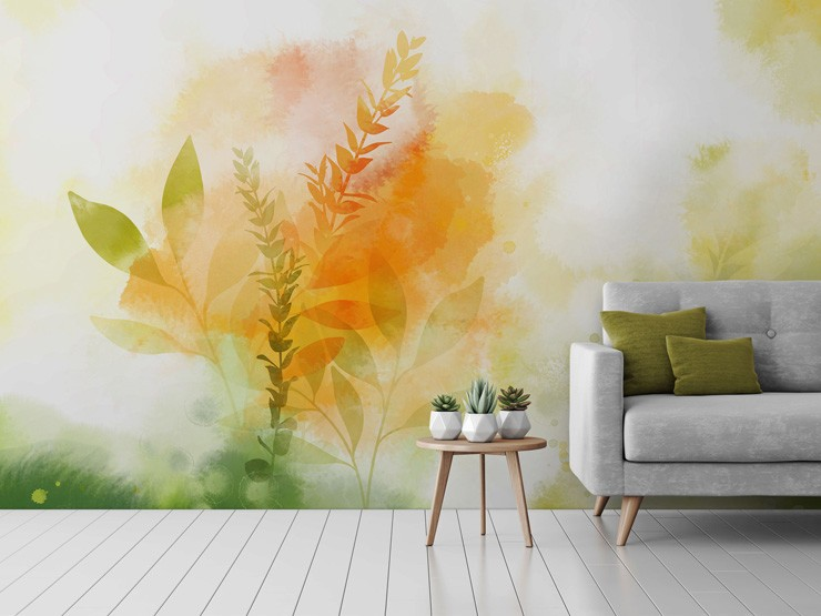 watercolour floral mural in a lounge by Katy Clemmans
