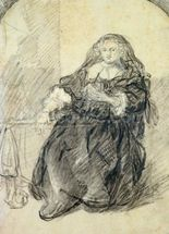 Seated Saskia with a letter in her left hand (black chalk with white bodycolour on paper) wallpaper mural thumbnail