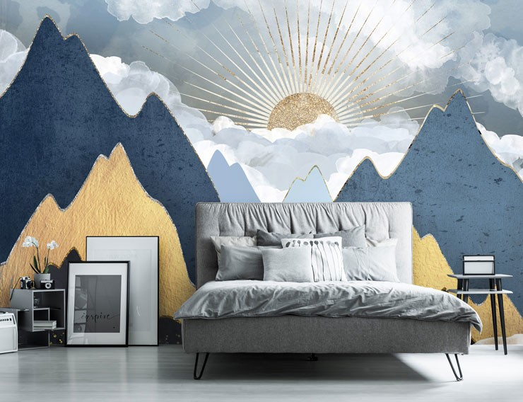 gold, navy and grey art deco mountain design wallpaper in grey bedroom