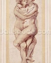Embracing Couple (drawing) wall mural thumbnail