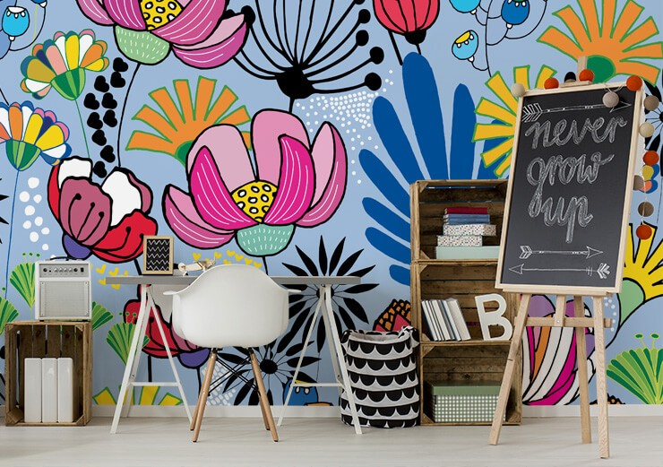 very bold and colourful flower design wallpaper in home office
