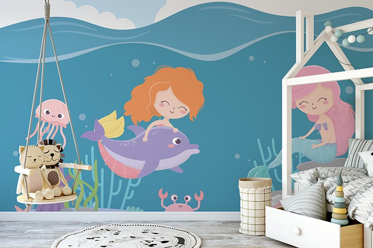 mermaid cartoons girls and dolphin wallpaper in toddlers bedroom