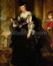 Portrait of Helene Fourment with a Coach, c.1639 (oil on panel) wallpaper mural thumbnail