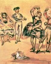 Spanish Dancers, 1862 (w/c, pencil and ink) wallpaper mural thumbnail