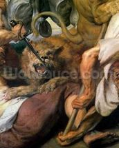 Lion Hunt, detail of two men and a lion, 1621 (oil on canvas) wall mural thumbnail