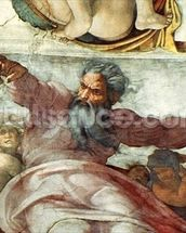 Sistine Chapel Ceiling: Creation of the Sun and Moon, 1508-12 (fresco) (detail of 183097) wall mural thumbnail