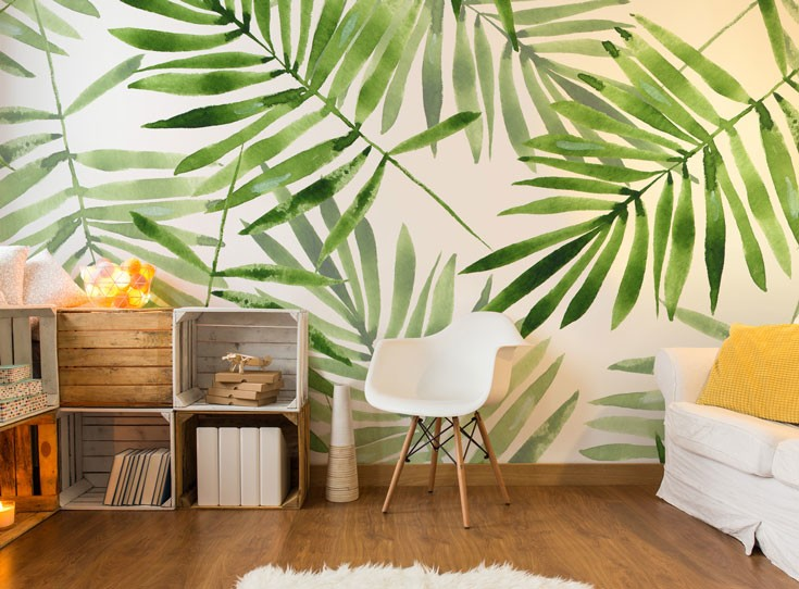 tropical leaf wallpaper in living room