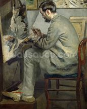 Frederic Bazille at his Easel, 1867 (oil on canvas) wallpaper mural thumbnail