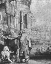 St. Peter and St. John at the Entrance to the Temple, 1649 (etching) (b/w photo) mural wallpaper thumbnail
