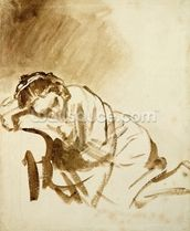 A Young Woman Sleeping (Hendrijke Stoffels) c.1654 (brush & brown wash on paper) wallpaper mural thumbnail