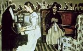 Girl at the Piano (Overture to Tannhauser), 1868-69 (oil on canvas) mural wallpaper thumbnail