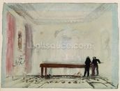 Billiard players at Petworth House, 1830 (gouache) wallpaper mural thumbnail