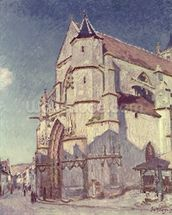 The Church at Moret, 1894 (oil on canvas) mural wallpaper thumbnail