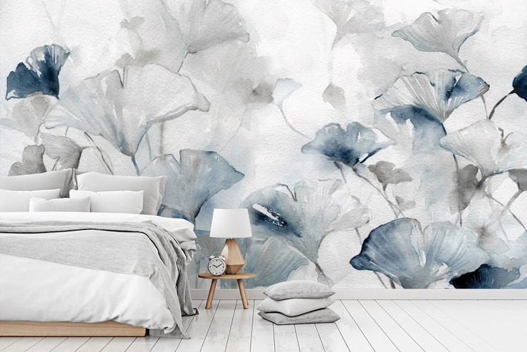 watercolour blue and white flowers in white and grey bedroom