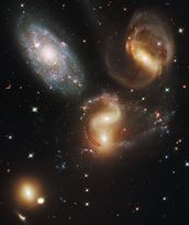 Galactic Wreckage in Stephan's Quintet wall mural thumbnail