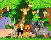 Animals In the Jungle wallpaper mural thumbnail
