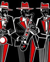 Trio of Saxophonists wall mural thumbnail