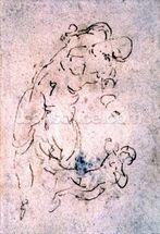 Inv. 1859 6-25-553. R. (W.56) Sketch of reclining male and child (red chalk) mural wallpaper thumbnail