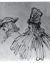 Two Actors (pens & ink wash on paper) (b/w photo) mural wallpaper thumbnail