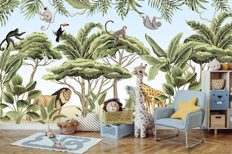 illustrated jungle and animal wallpaper in cute animal themed nursery