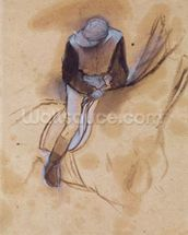 Jockey flexed forward standing in the saddle, 1860-90 (pastel & charcoal on paper) wallpaper mural thumbnail