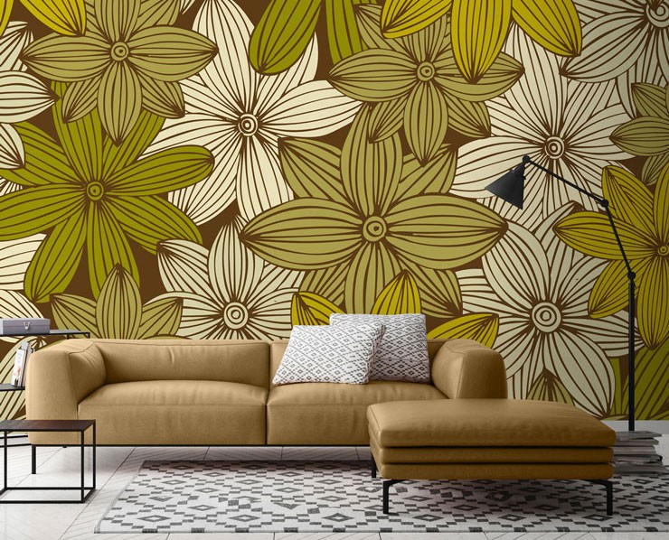Mustard yellow flower mural in living room