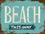 Beach Tin Sign wall mural thumbnail