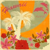 Vintage Hawaiian mural wallpaper thumbnail