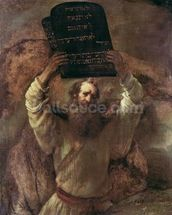 Moses Smashing the Tablets of the Law, 1659 (oil on canvas) mural wallpaper thumbnail