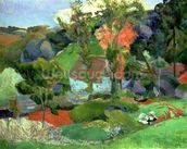 Landscape at Pont Aven, 1888 (oil on canvas) wall mural thumbnail