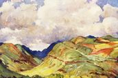 Koolau Mountian Range And Clouds - Art By J.H. Sharp, C 1931 wall mural thumbnail