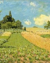 The Cornfield (near Argenteuil) (oil on canvas) wallpaper mural thumbnail