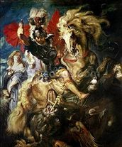St. George and the Dragon, c.1606 (oil on canvas) wall mural thumbnail