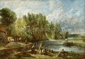 The Young Waltonians - Stratford Mill, c.1819-25 (oil on canvas) mural wallpaper thumbnail