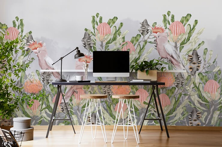 orange cockatoo birds amongst prickly cactus wallpaper in trendy home office